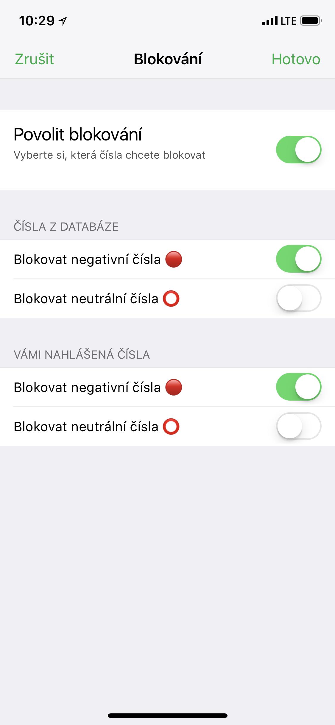 Obrazovka aplikace Zvednout to? k nastavení blokování