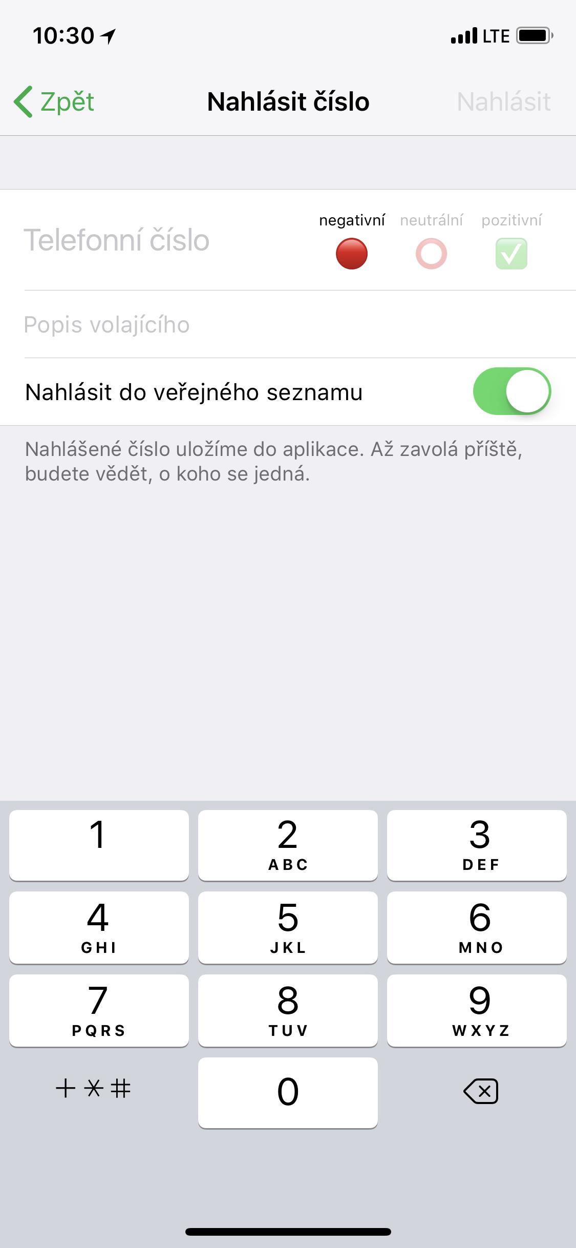 Obrazovka aplikace Zvednout to? k nahlášení čísla