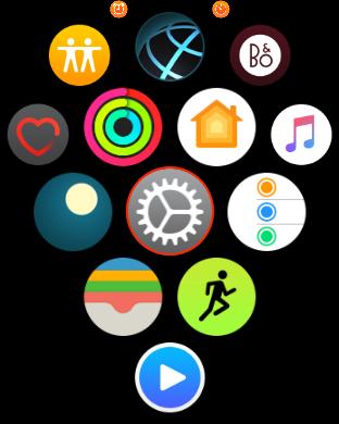 Obrazovka menu Apple Watch s vybranou aplikací Nastavení
