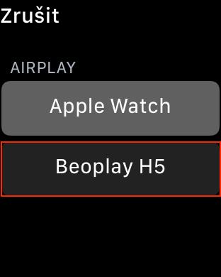 Výběr zvukového výstupu na Apple Watch
