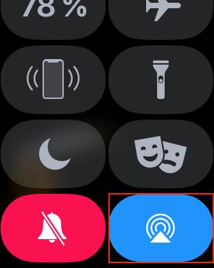 Ovládací centrum s připojením externím zvukovým výstupem na Apple Watch