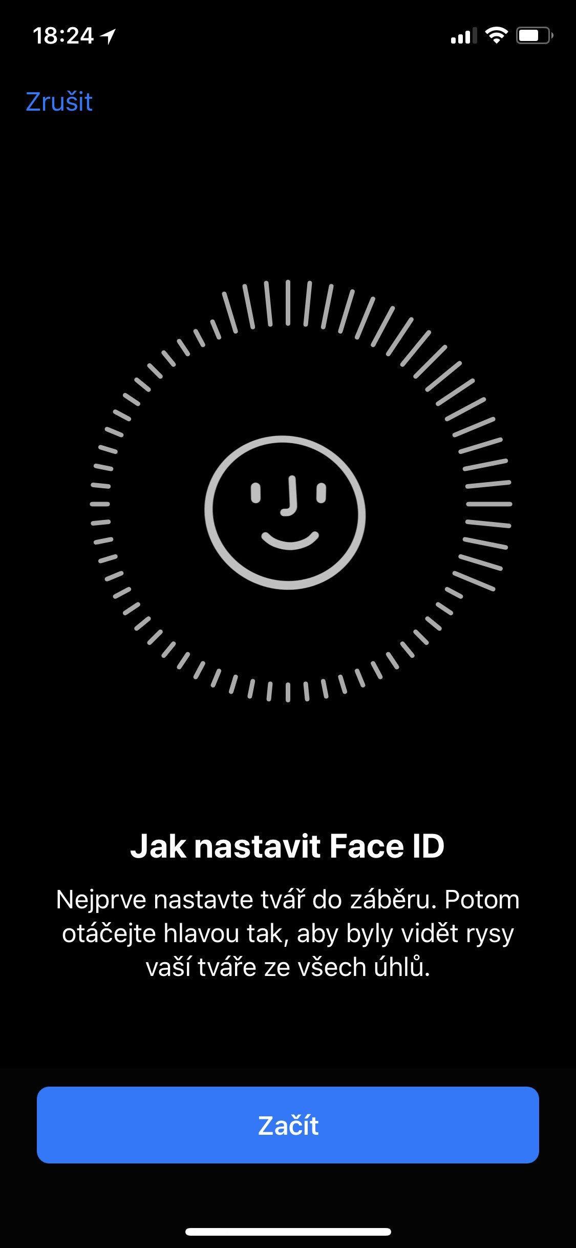 Obrazovka iOS Jak nastavit Face ID
