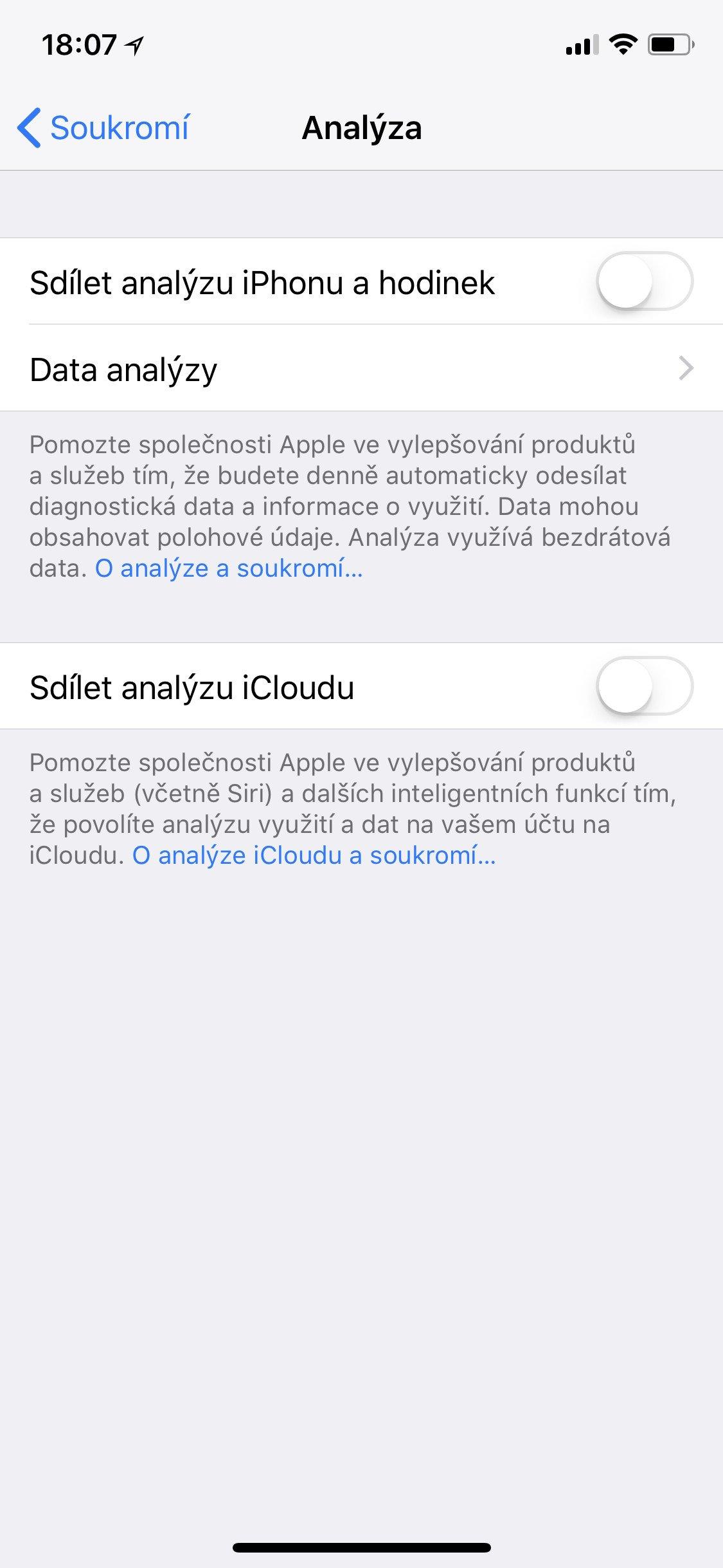 Obrazovka iOS Analýza