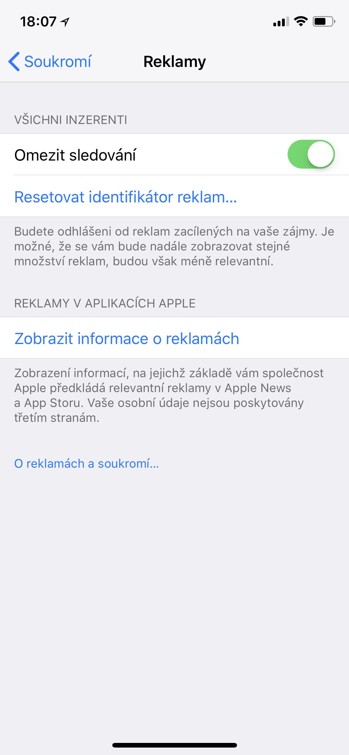 Obrazovka iOS Reklamy
