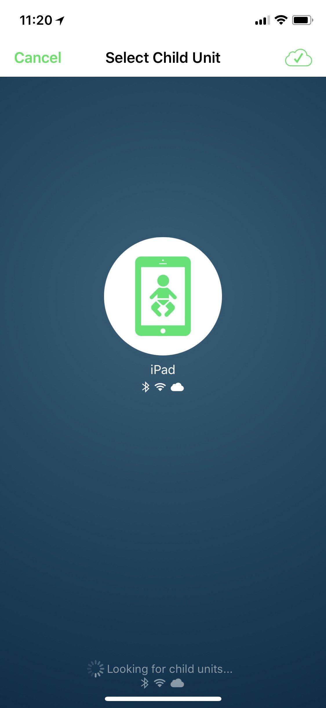 Obrazovka aplikace Cloud Baby Monitor s výběrem dětských jednotek
