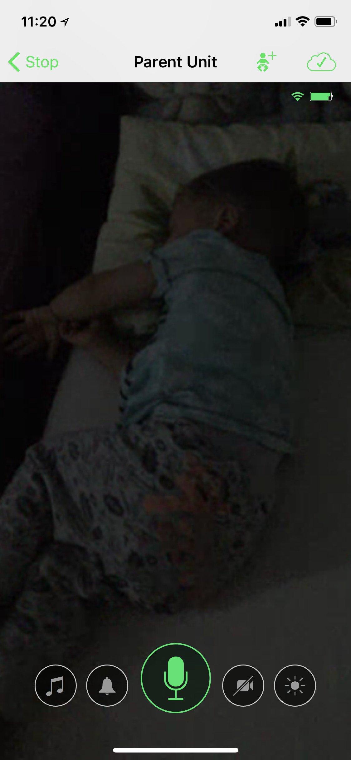 Rodičovská jednotka aplikace Cloud Baby Monitor