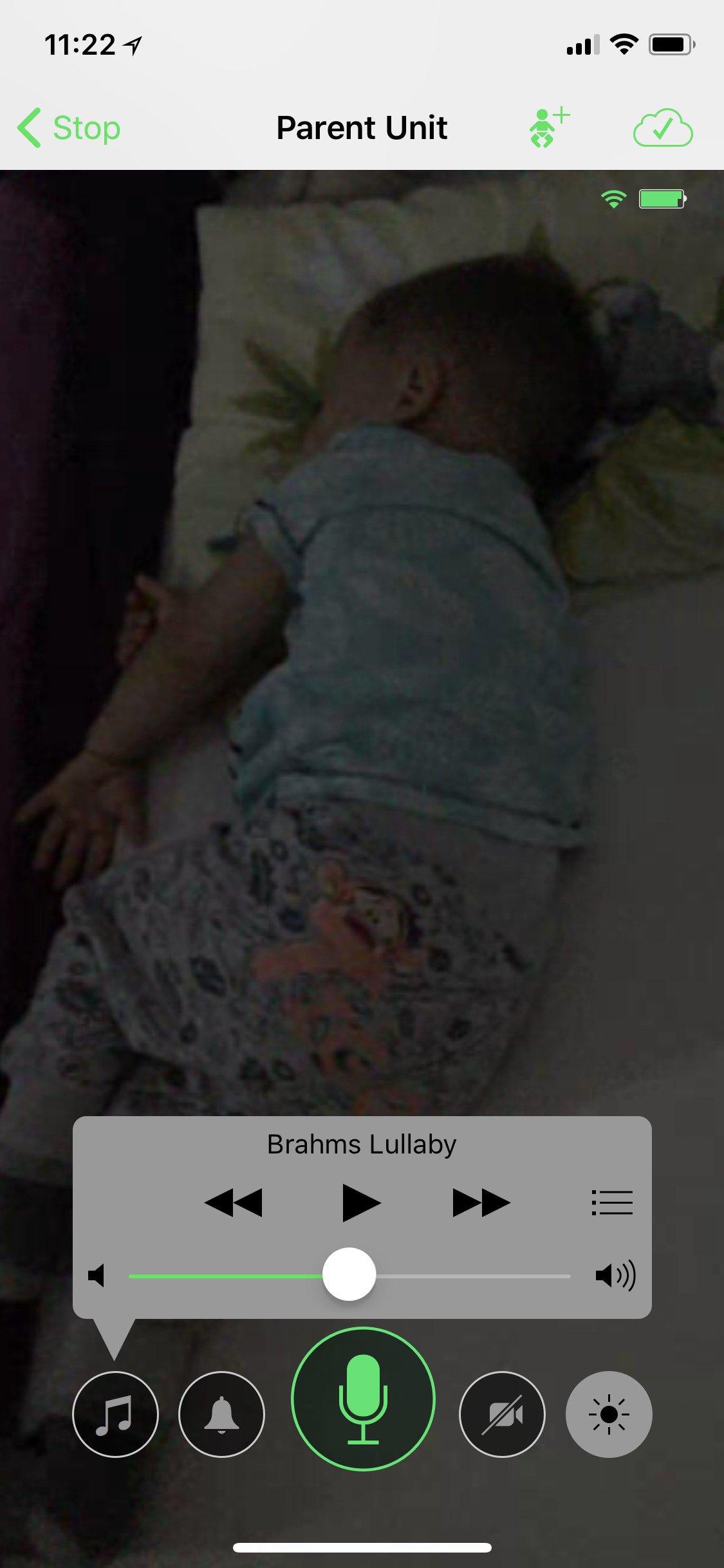 Ovládání hudby na rodičovské jednotce aplikace Cloud Baby Monitor