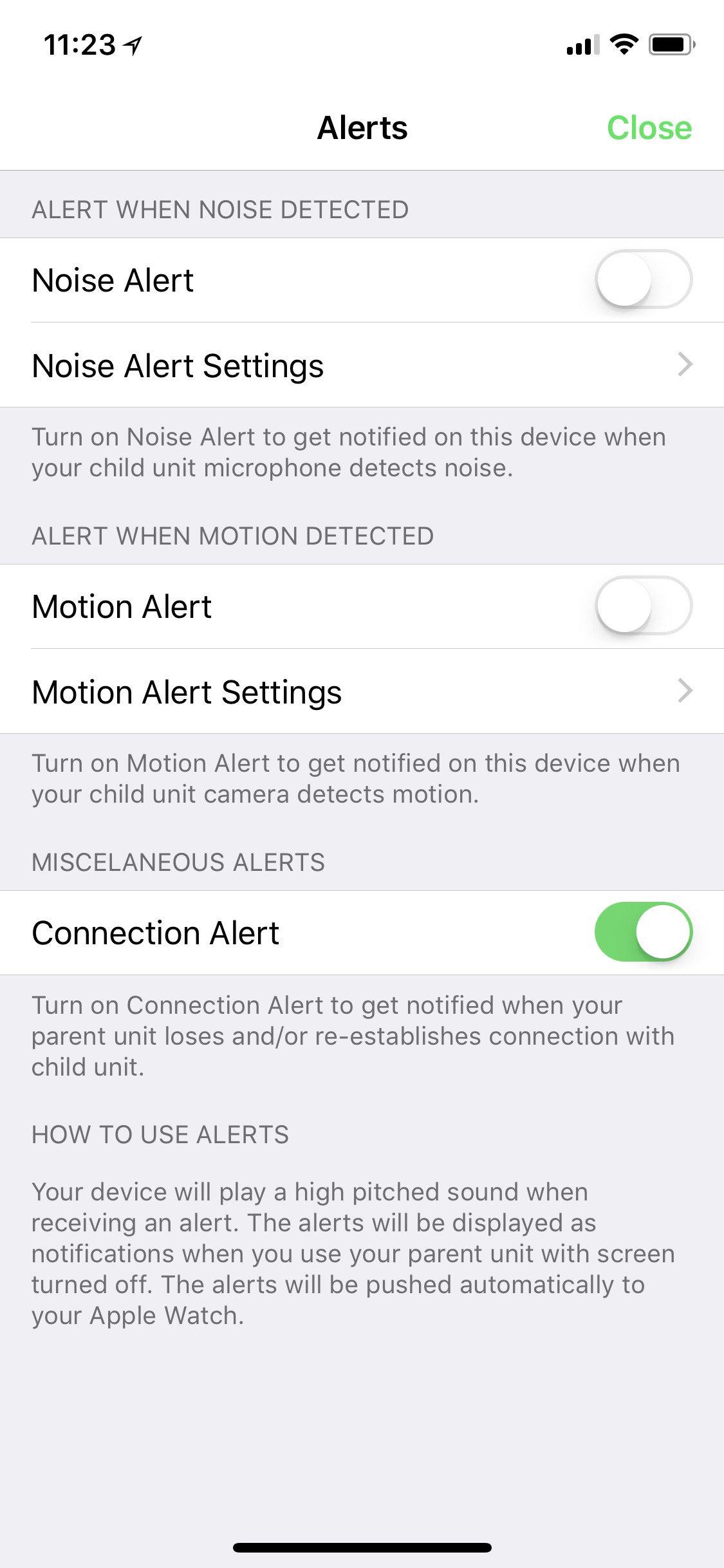 Nastavení upozornění na zvuk a pohyb aplikace Cloud Baby Monitor