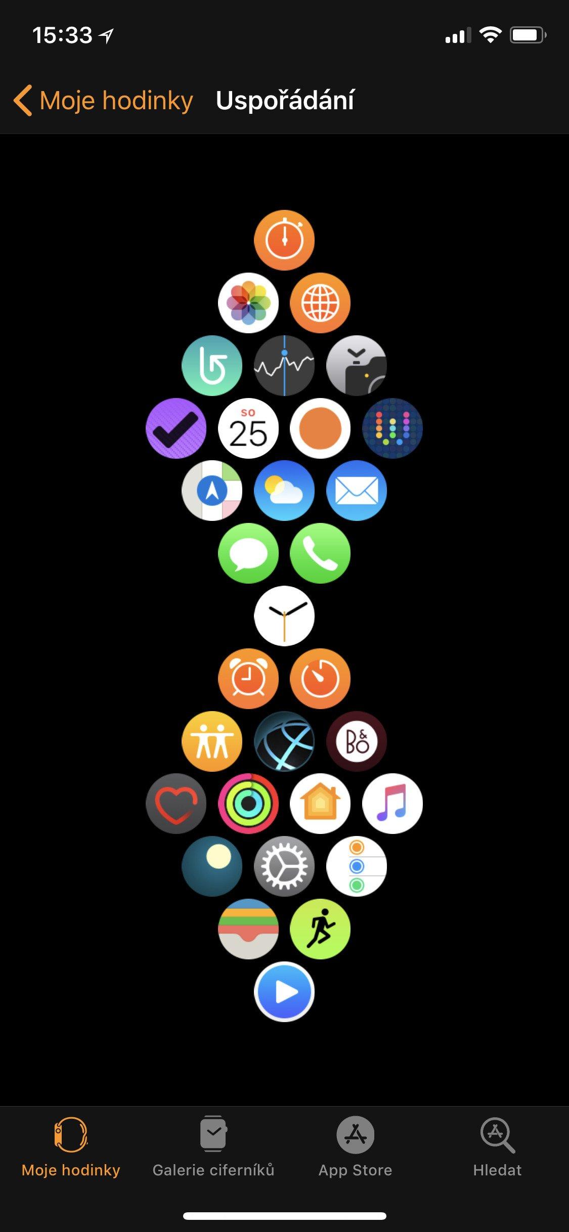 Obrazovka Uspořádání aplikací v aplikaci Watch