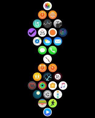Domovská obrazovka Apple Watch s rozmístěním aplikací do kosočtverců