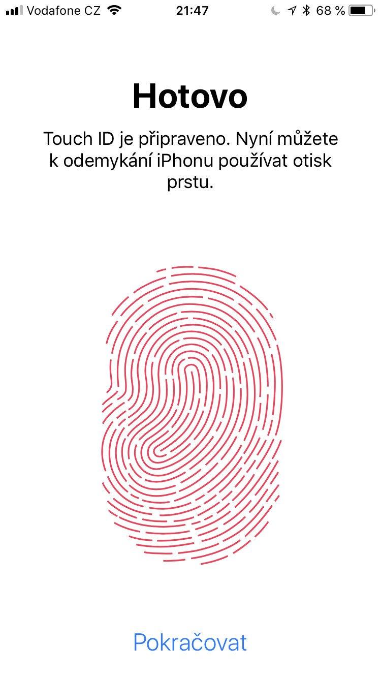 Potvrzení přidání otisku prstu v iOS