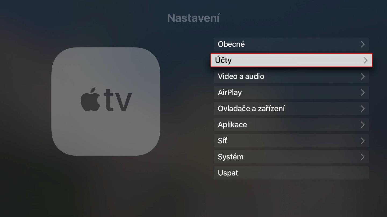 Nastavení Apple TV s vybranou položkou Účty