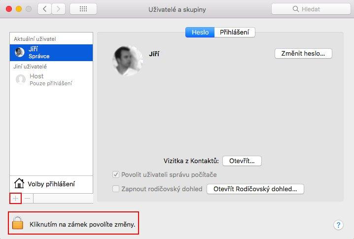 Uživatelé a skupiny na macOS s vybraným tlačítkem pro přidání uživatele