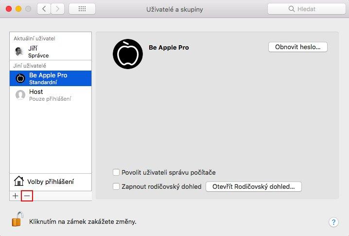 Uživatelé a skupiny na macOS s vybraným tlačítkem pro odebrání uživatele