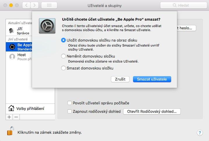 Uživatelé a skupiny na macOS s potvrzením odstranění uživatele