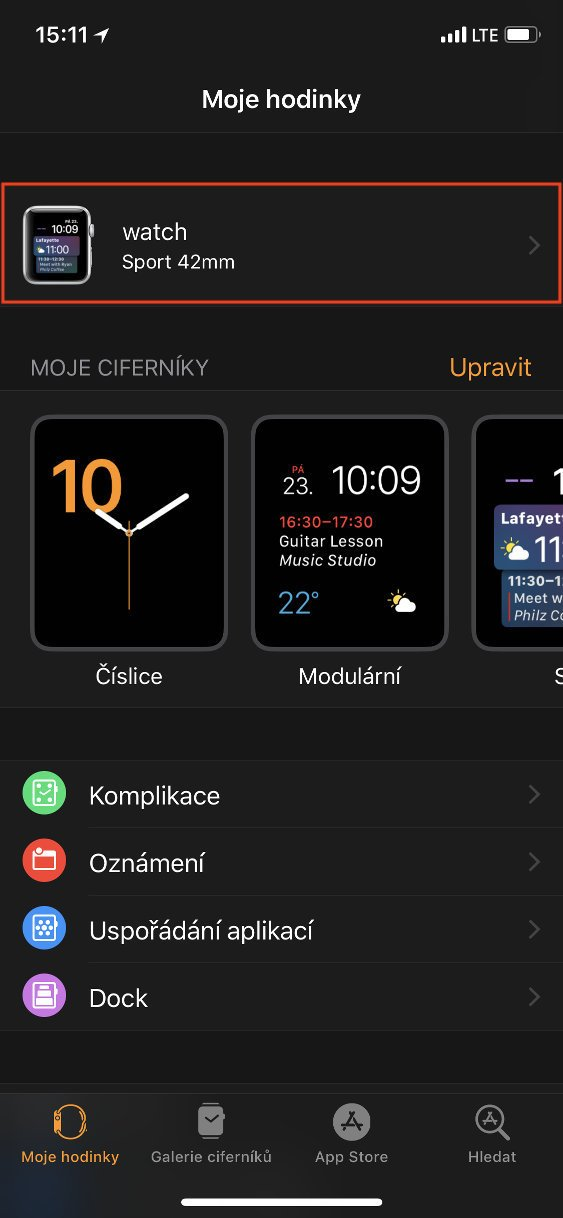 Panel Moje hodinky aplikace Watch s vybranými hodinkami
