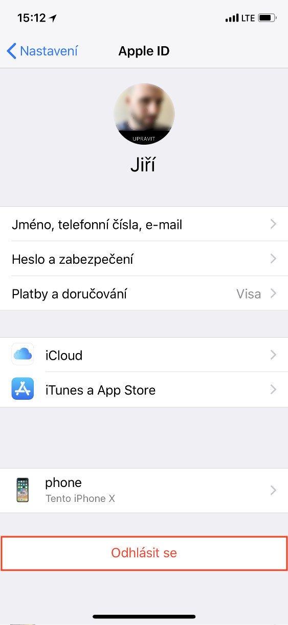 Obrazovka iOS Apple ID