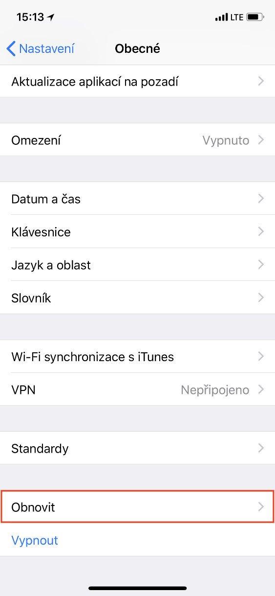 Obrazovka iOS Obecné s vybranou položkou Obnovit