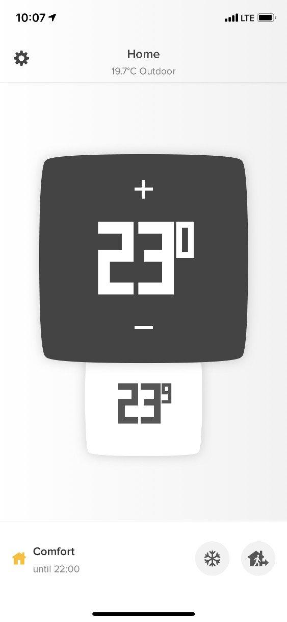 Obrazovka s nastavením teploty aplikace Netatmo Energy