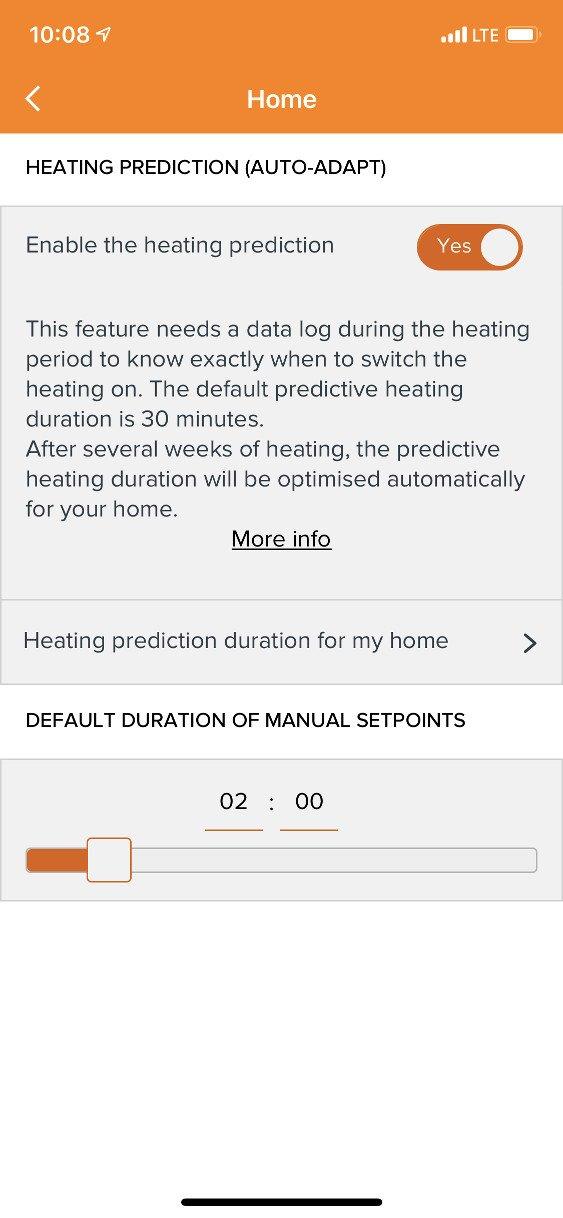 Nastavení prediktivního topení v aplikaci Netatmo Energy