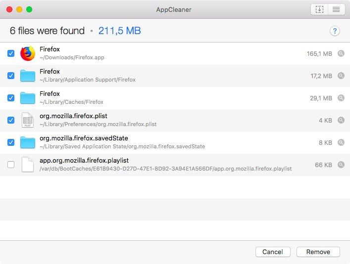 Aplikace AppCleaner se zobrazenými soubory Firefoxu