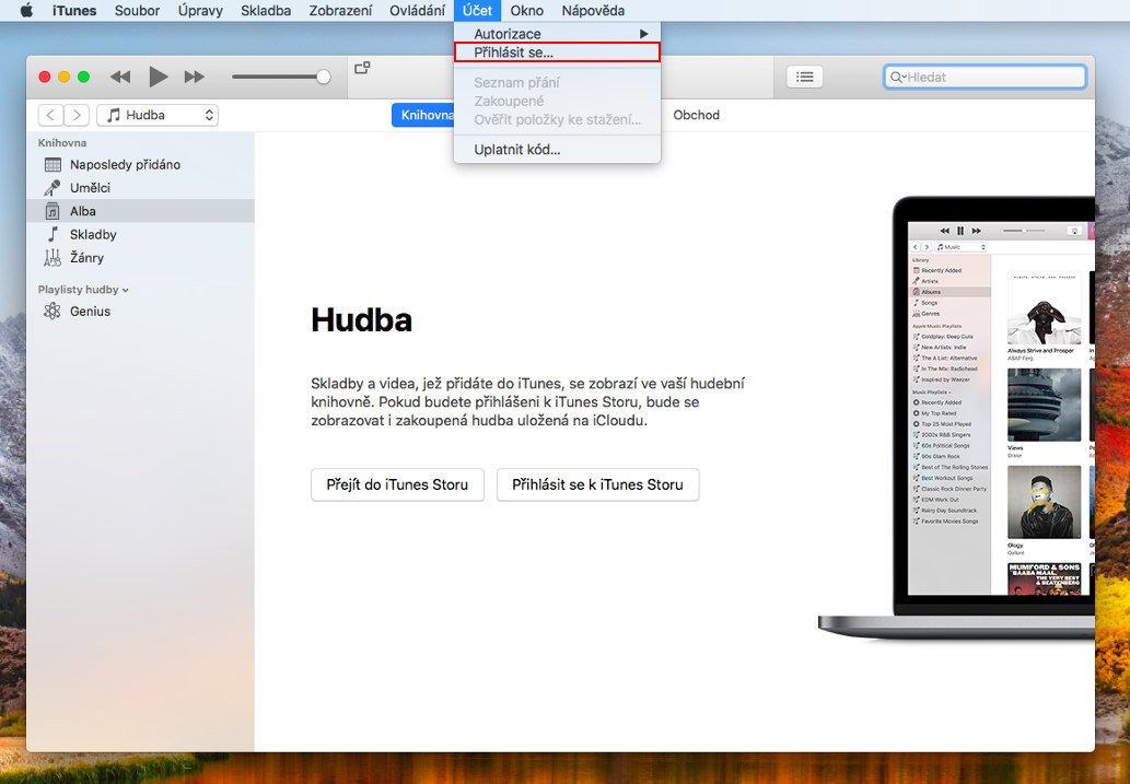 Nabídka Účet s vybranou položkou Přihlásit se... v aplikaci iTunes