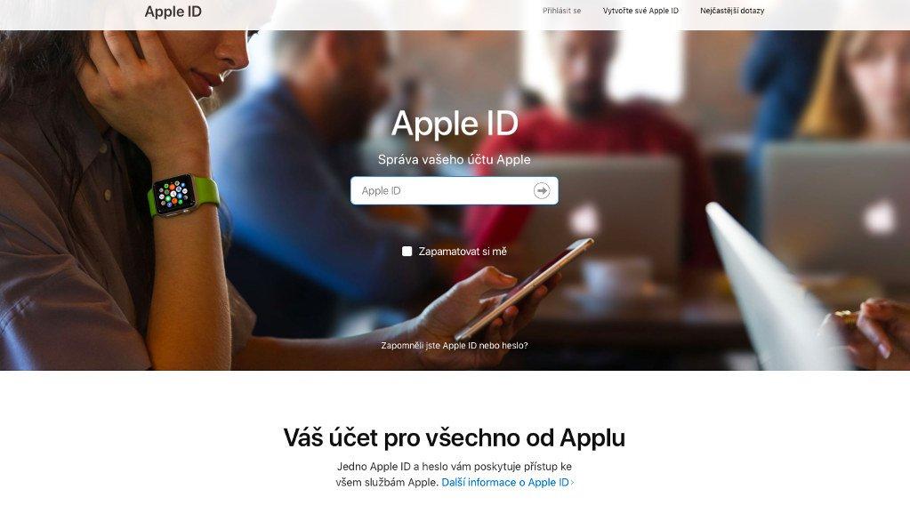 Přihlášení na web appleid.apple.com ke správě Apple ID