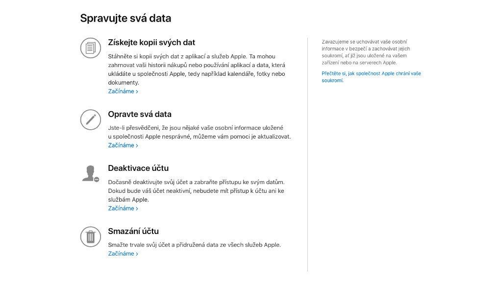 Možnosti správy dat na privacy.apple.com