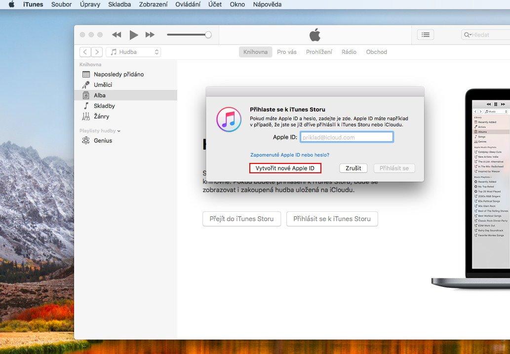 Okno pro přihlášení a založení nového účtu v aplikaci iTunes
