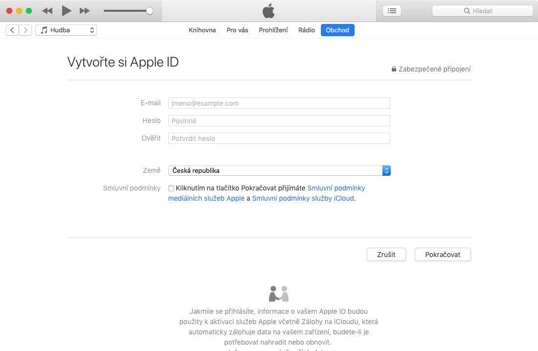 Formulář pro založení nového Apple ID v aplikaci iTunes