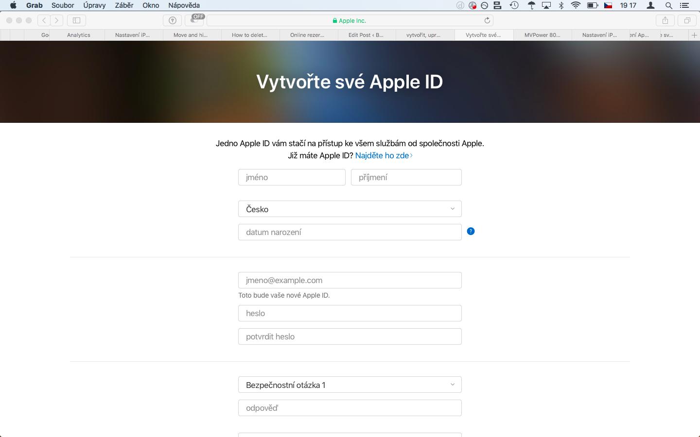 Vytvoření nového Apple ID na webu appleid.apple.com