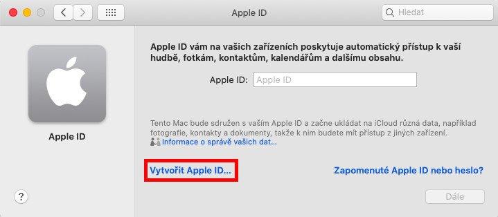 Vytvoření Apple ID na Macu