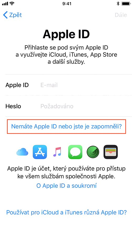 Přihlášení do Apple ID při instalaci iOS