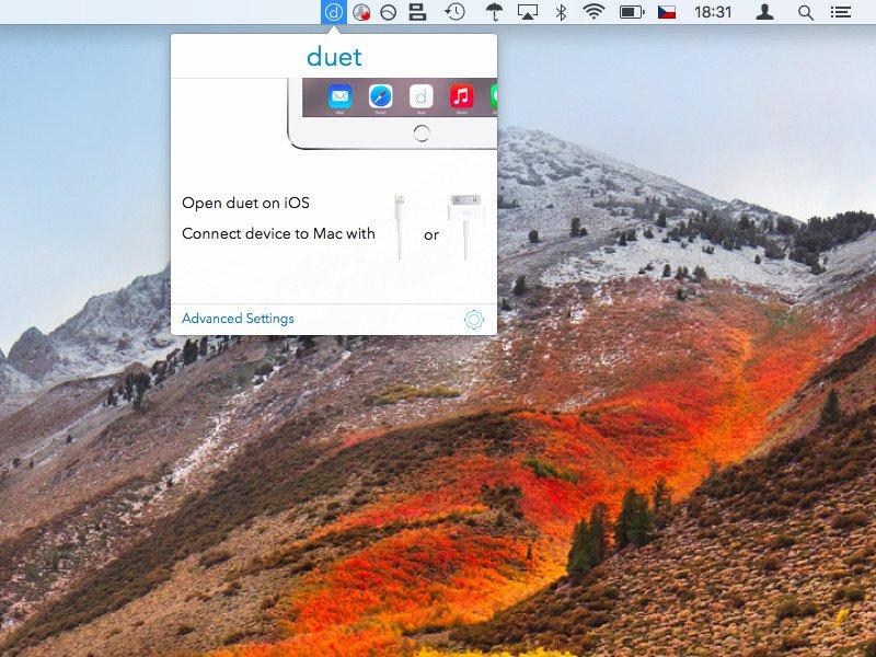 Duet Display na Macu čekající na připojení iPadu