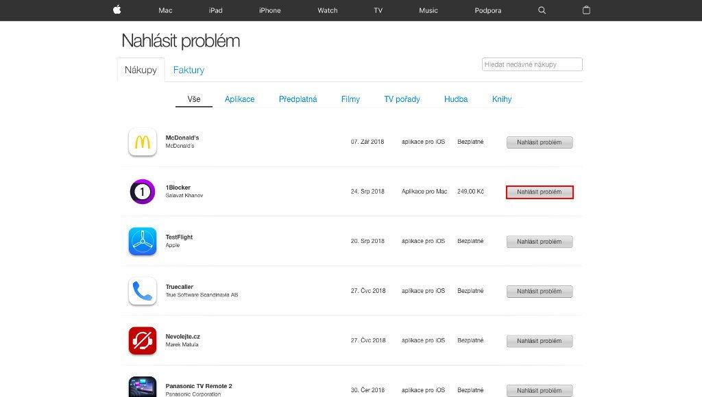 Seznam zakoupeného obsahu na reportaproblem.apple.com