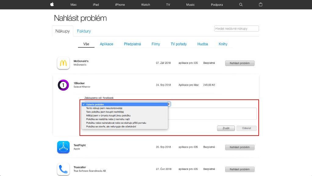 Vrácení zakoupeného obsahu na reportaproblem.apple.com