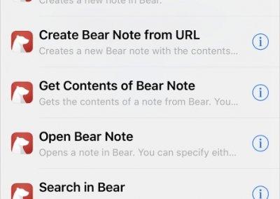 Zkratky pro aplikaci Bear