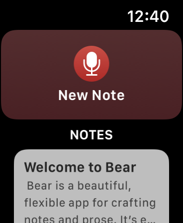 Bear pro Apple Watch