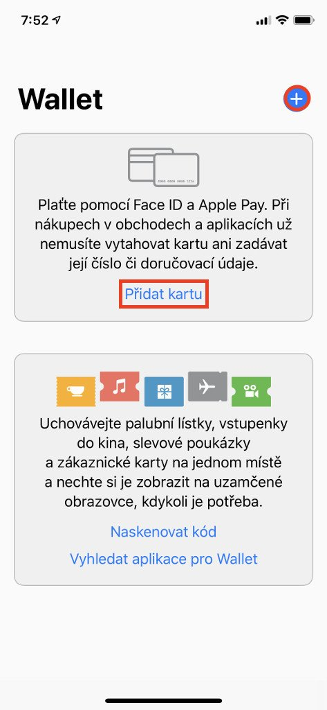 Přidáváním karty začněte v aplikaci Wallet