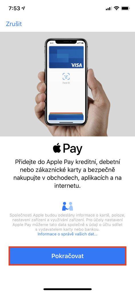 Na obrazovce k přidání kreditní, debetní nebo zákaznické karty stiskněte tlačítko Pokračovat