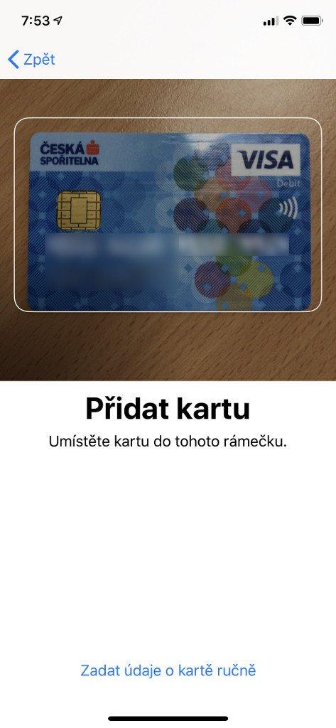 Naskenujte Vaši kartu, čímž dojde k automatickému načtení jejího čísla