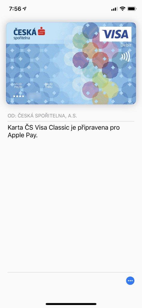 Vaše karta je nyní dostupná v aplikaci Wallet a připravena k placení