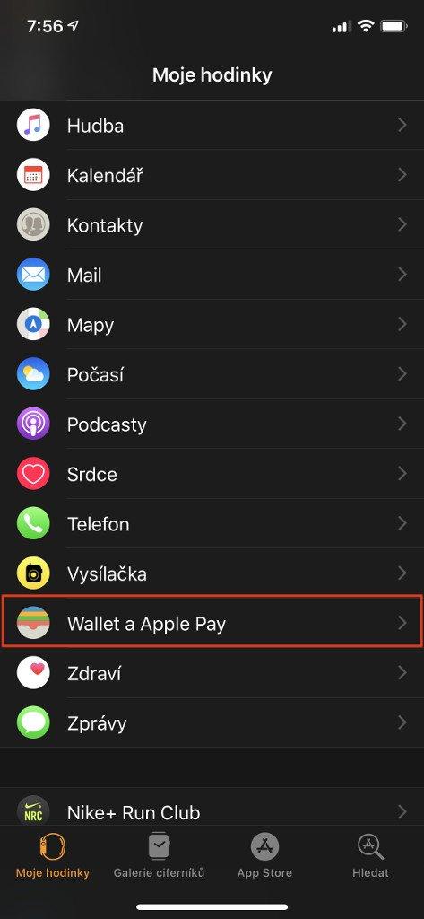 Otevřete nastavení aplikace Wallet a Apple Pay a aplikaci Watch na Vašem iPhone