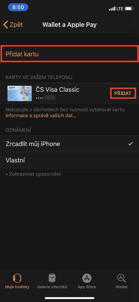 Kartu přidáte pomocí tlačítka Přidat kartu, případně tlačítka přidat u existující karty