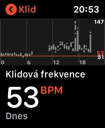 Klidový srdeční tep na Apple Watch