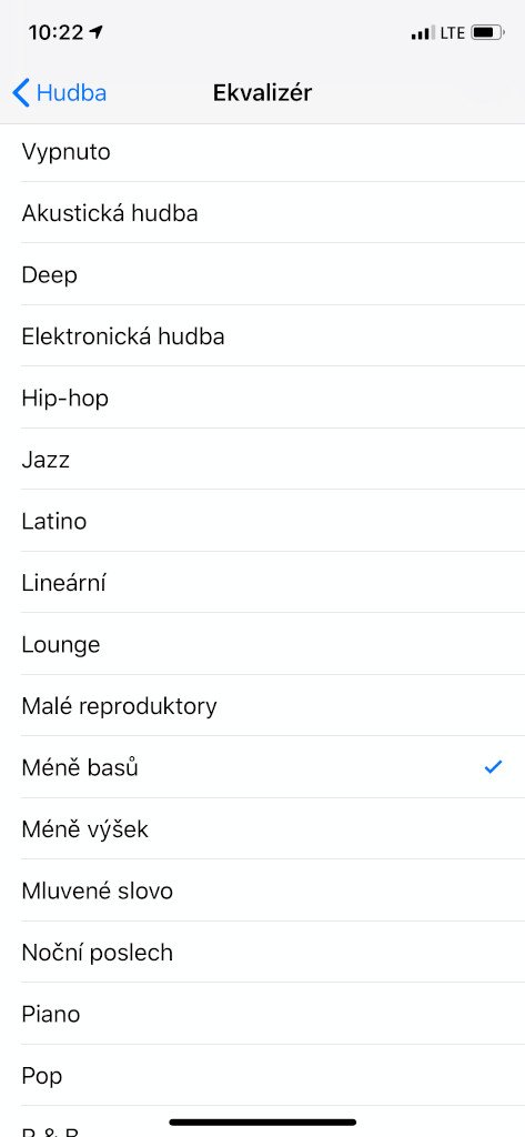 Nastavení ekvalizéru na iOS
