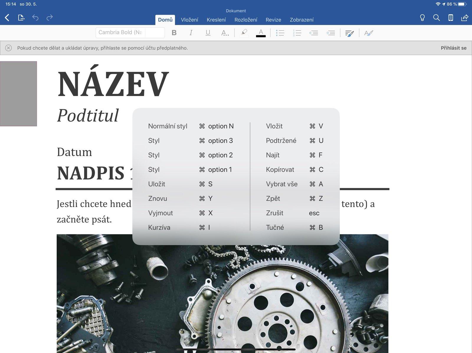 Dostupné klávesové zkratky v aplikaci Microsoft Word