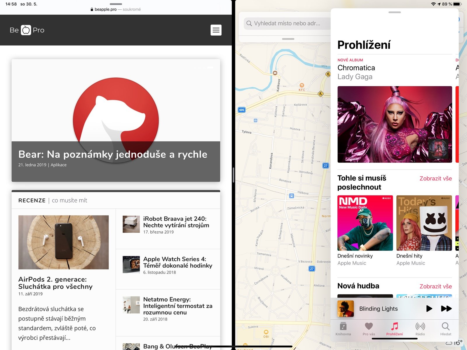 Funkce Split View a Slide Over na iPadu Pro