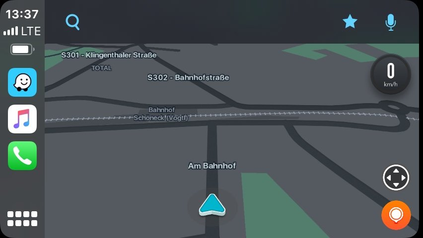 Snímek obrazovky CarPlay