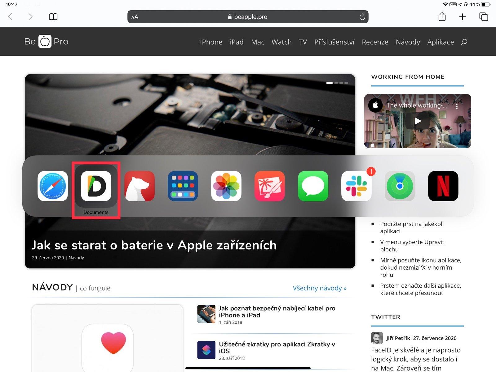 Zavírání aplikací na iPadu